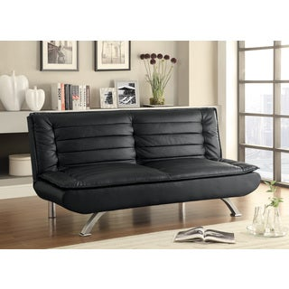 Black Leatherette Pillow-Top Sofa Bed