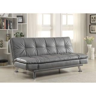 Coaster Company Dilleston Grey Sofa Bed in Futon Style with Chrome Legs