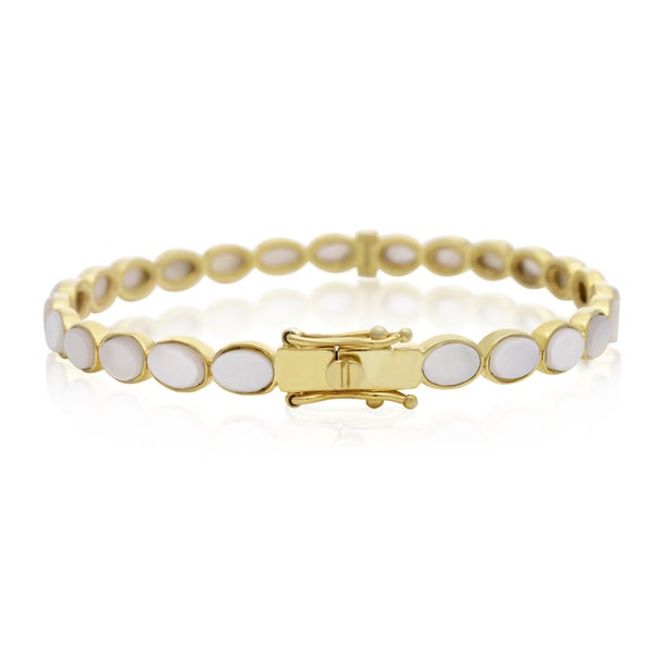 14 K Yellow Gold over Sterling Silver 30 Carat Mother Of Pearl Bangle Bracelet