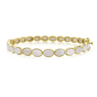 30 Carat Mother Of Pearl Bangle Bracelet In 14K Yellow Gold