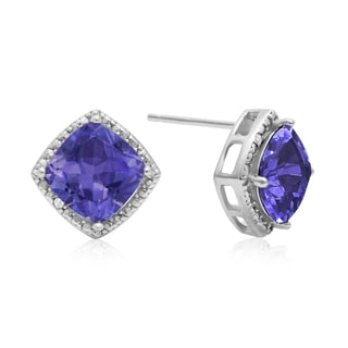 2 Carat Cushion Cut Tanzanite and Diamond Earrings In Sterling Silver