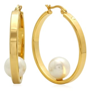 18k Goldplated Hoop Earrings with Pearl
