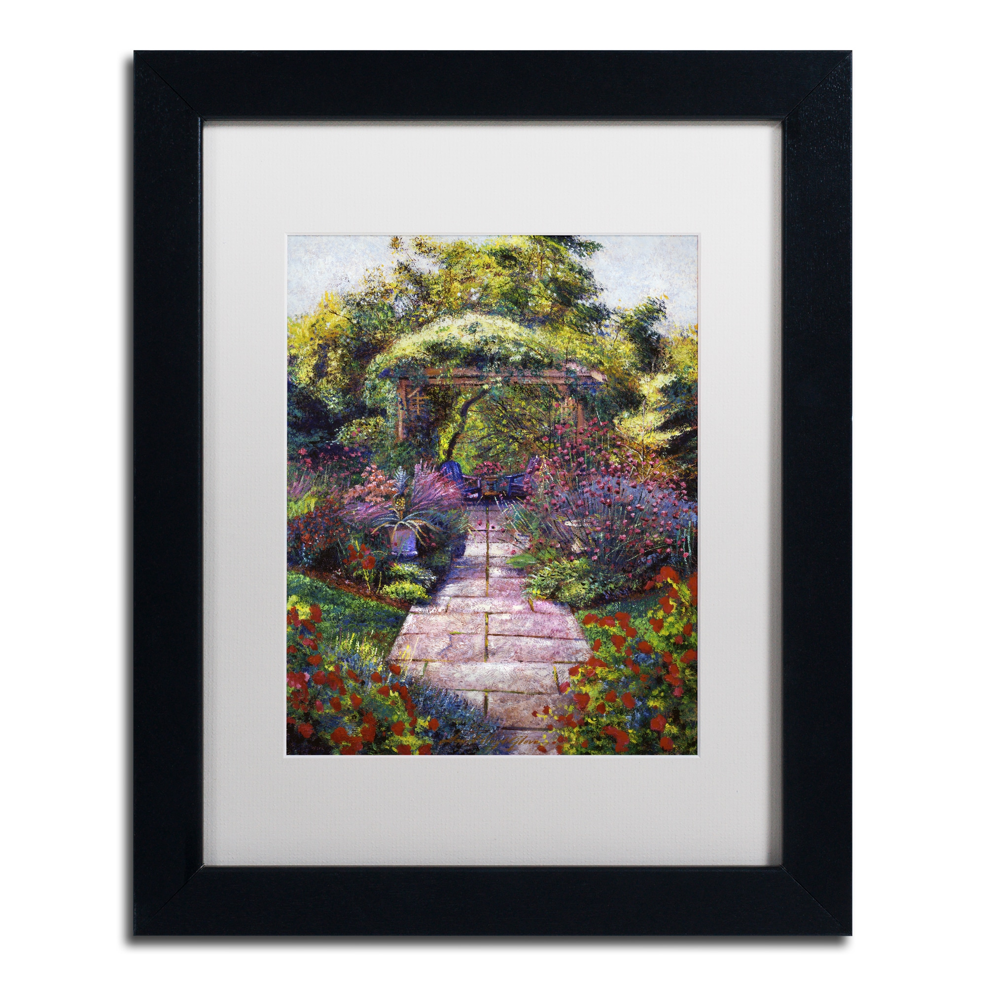 David Lloyd Glover 'Two Blue Garden Chairs' Matted Framed...