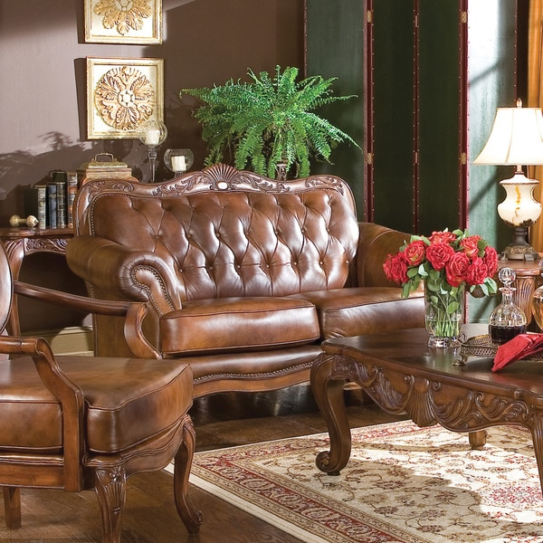 Coaster Company Brown Leather Tufted Victoria Sofa