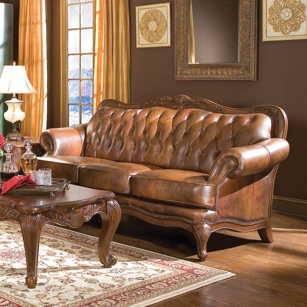 Perfect Coaster Company Brown Leather Tufted Victoria Sofa - Free Shipping  LD88