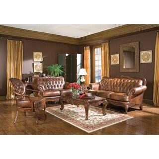 Coaster Company Brown Leather Tufted Victoria Sofa