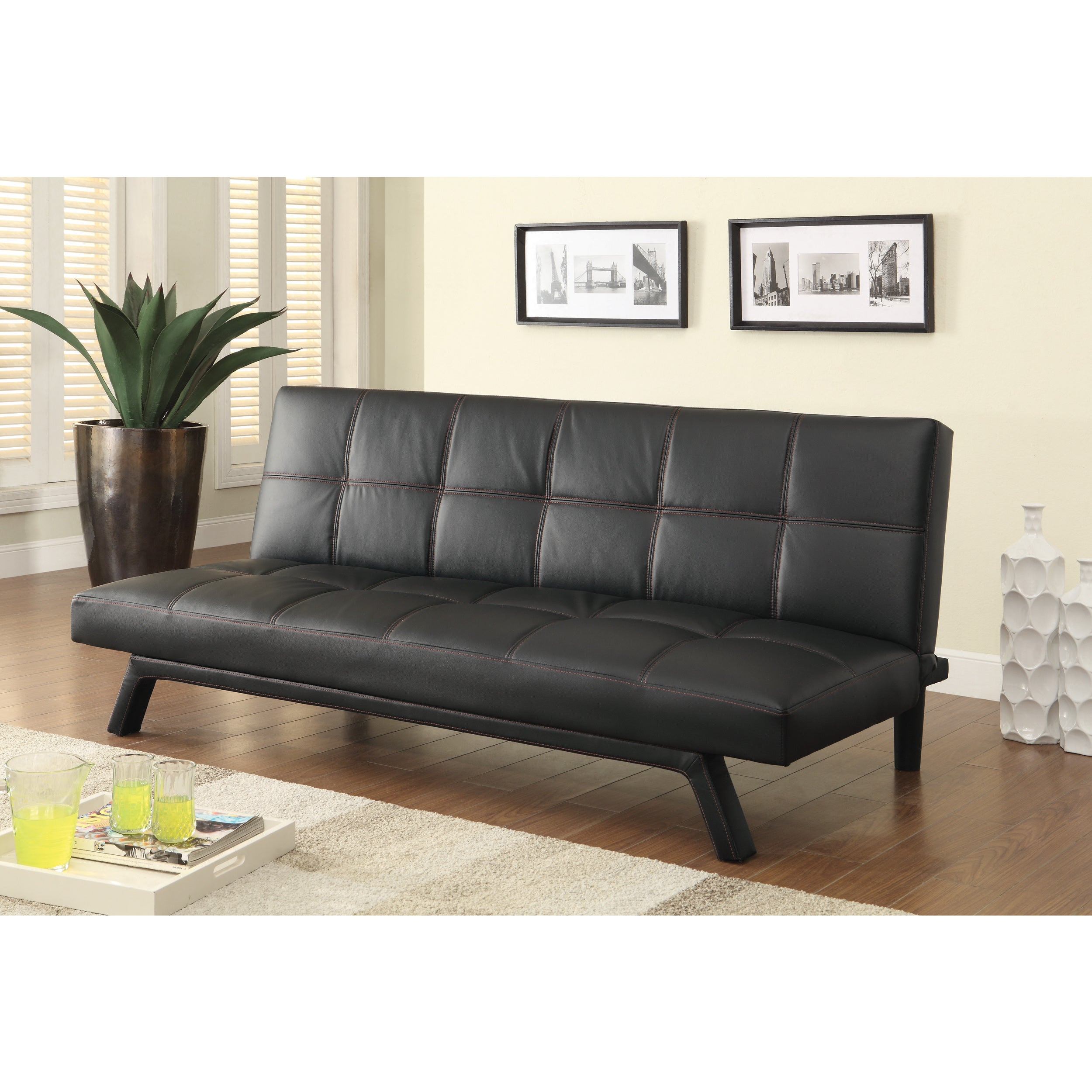 Incredible Details About Coaster Company Black Red Leatherette Sofa Bed Black Red Caraccident5 Cool Chair Designs And Ideas Caraccident5Info
