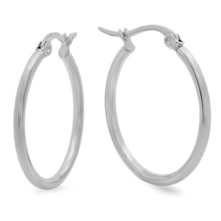 Silvertoned 25-millimeter Hoop Earrings