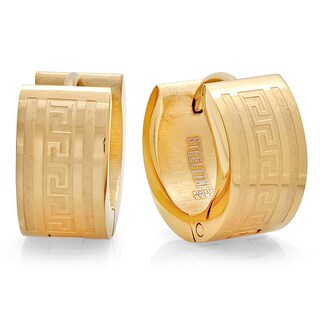Piatella Ladies Gold Tone Greek Key Huggie Earrings