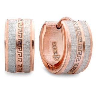 18k Rose Gold-plated Greek Key Hoop Earrings