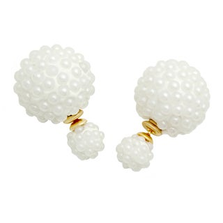 Piatella Ladies Stainless Steel Cluster Pearl Double-sided Earrings (2 options available)