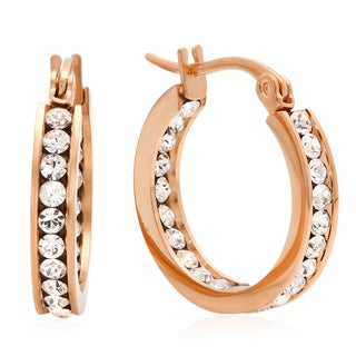 Swarovski Elements In and Out Mini Hoops (Option: Rose)