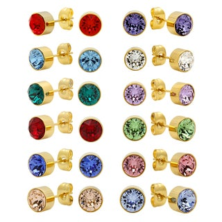 Piatella Unisex Gold Tone Birthstone Earrings Created with Swarovski Elements Crystals