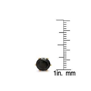 18k Goldplated Black Cubic Zirconia Stud Earrings