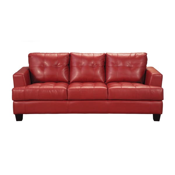 Fabulous Coaster Company Red Bonded Leather Sofa 85 X 38 X 36 Short Links Chair Design For Home Short Linksinfo