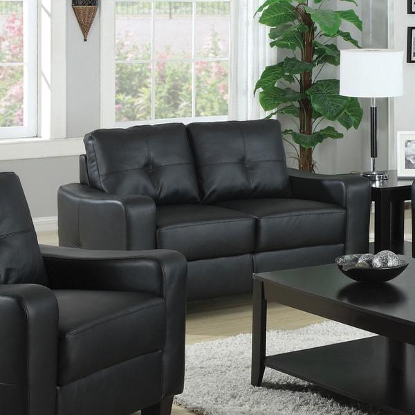 Shop Coaster Company Jasmine Leather Sofa (Black) - Free Shipping ...