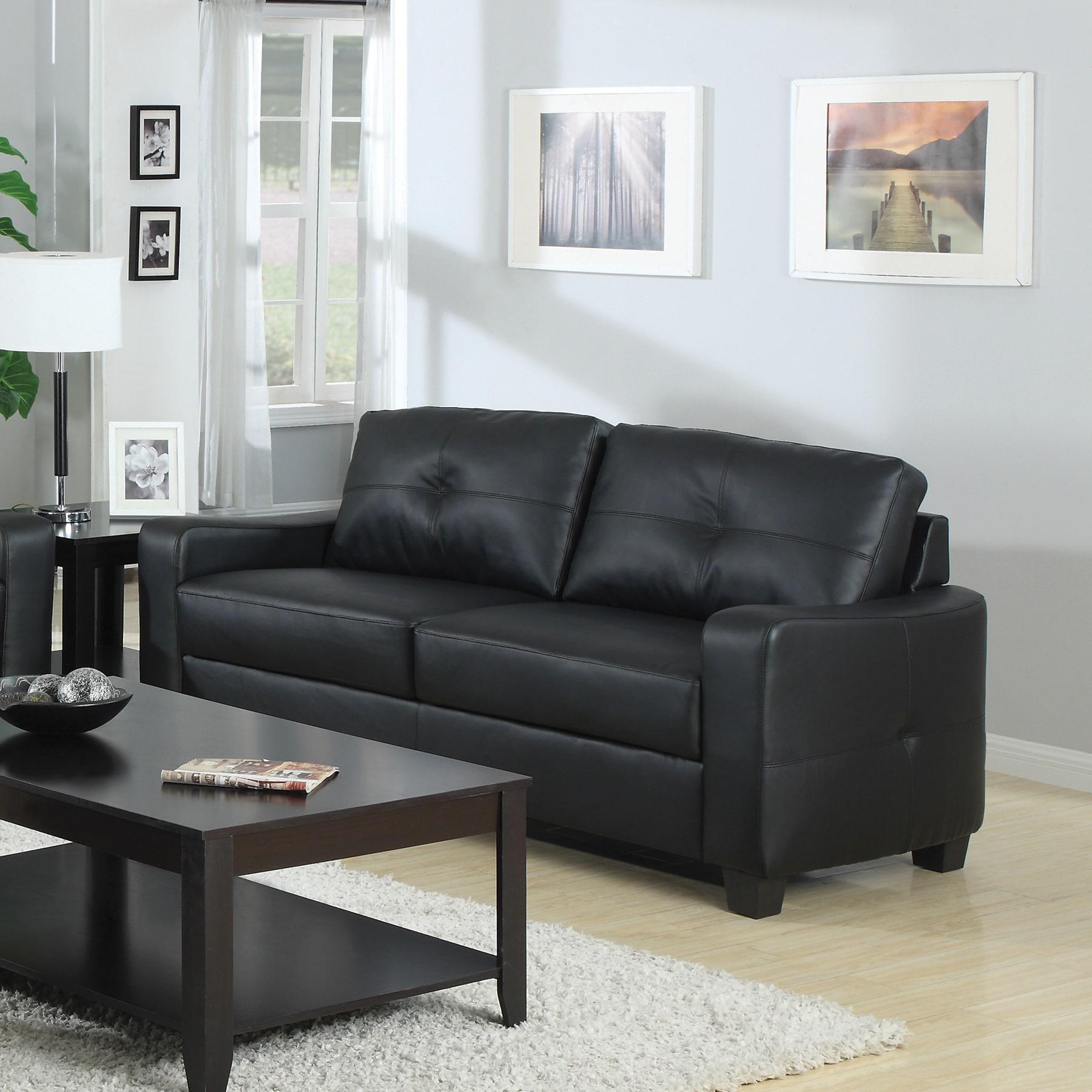 Coaster Furniture Jasmine Leather Sofa (Black) (Sofa)