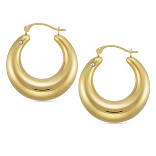 Forever Last 14k Round Graduated Hoop Earring with Crystal Accent