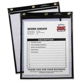C-Line Products Heavy Duty Super Heavyweight Plus Stitched Shop Ticket Holder, Black, 9x12, 15/BX - Black (15/Box)