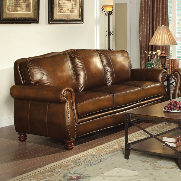 Nailhead Trim Brown Leather Sofa Reviews Deals Prices