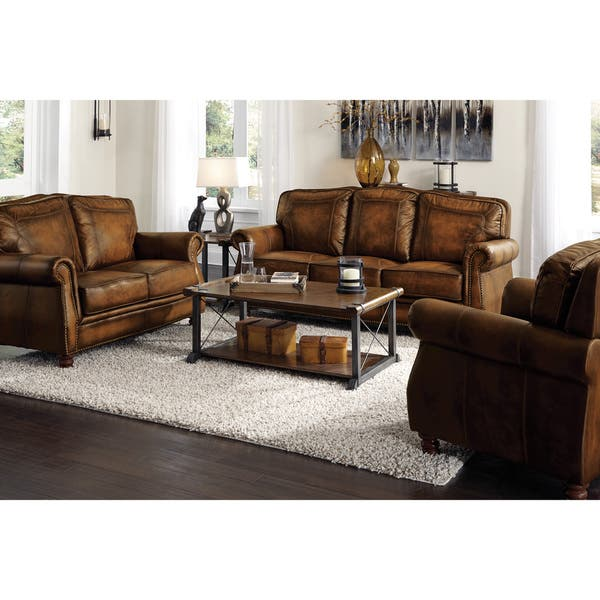 Shop Coaster Company Nailhead Trim Brown Leather Sofa - Free ...