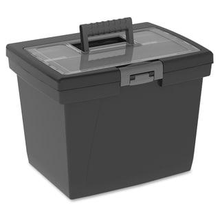 Storex Nesting Portable File Box - Black/Gray
