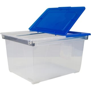 Storex Stackable Heavy-duty File Tote - Clear Blue