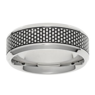 Men's Stainless Steel Textured Center Band