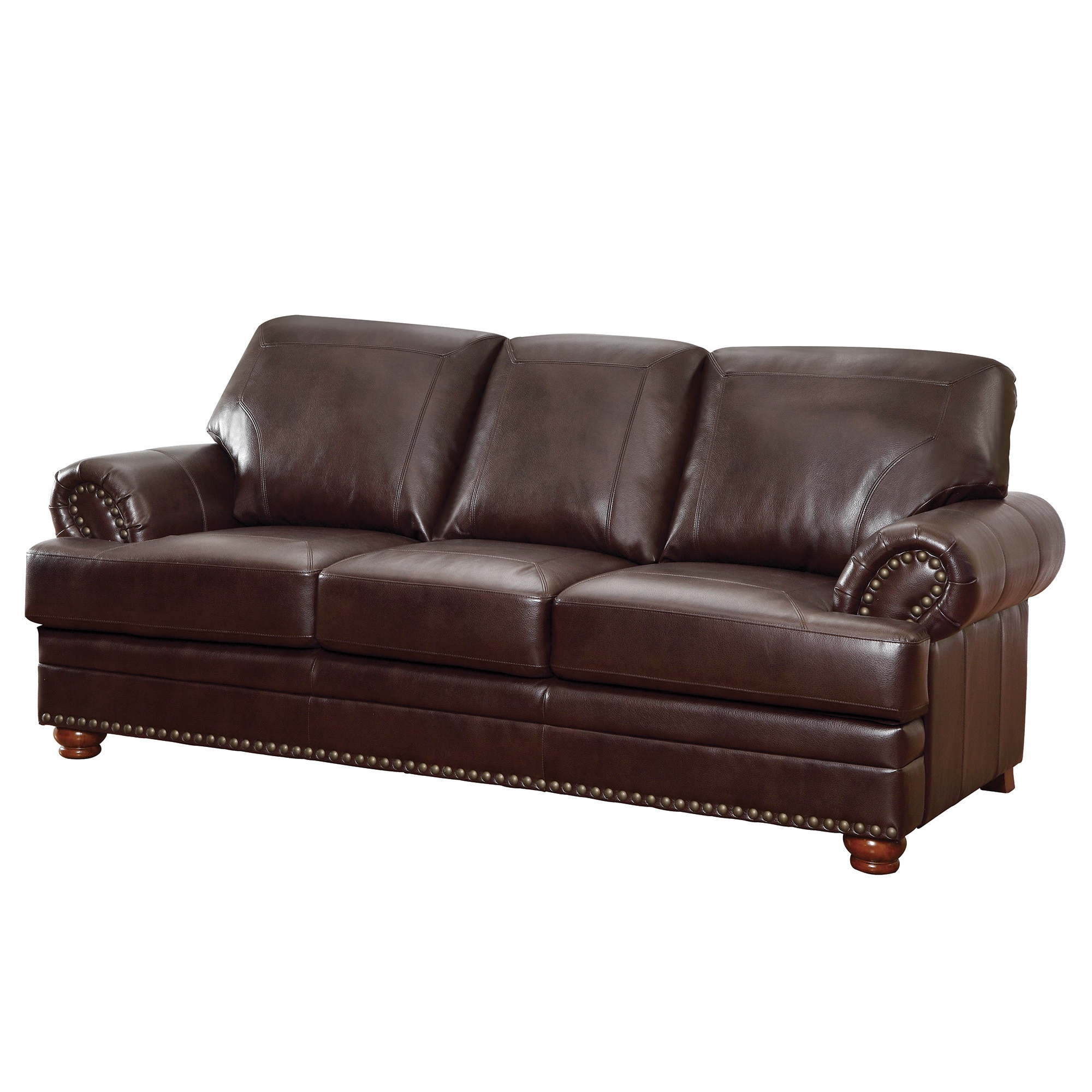 Details about Coaster Company Brown Bonded Leather Sofa/ Loveseat