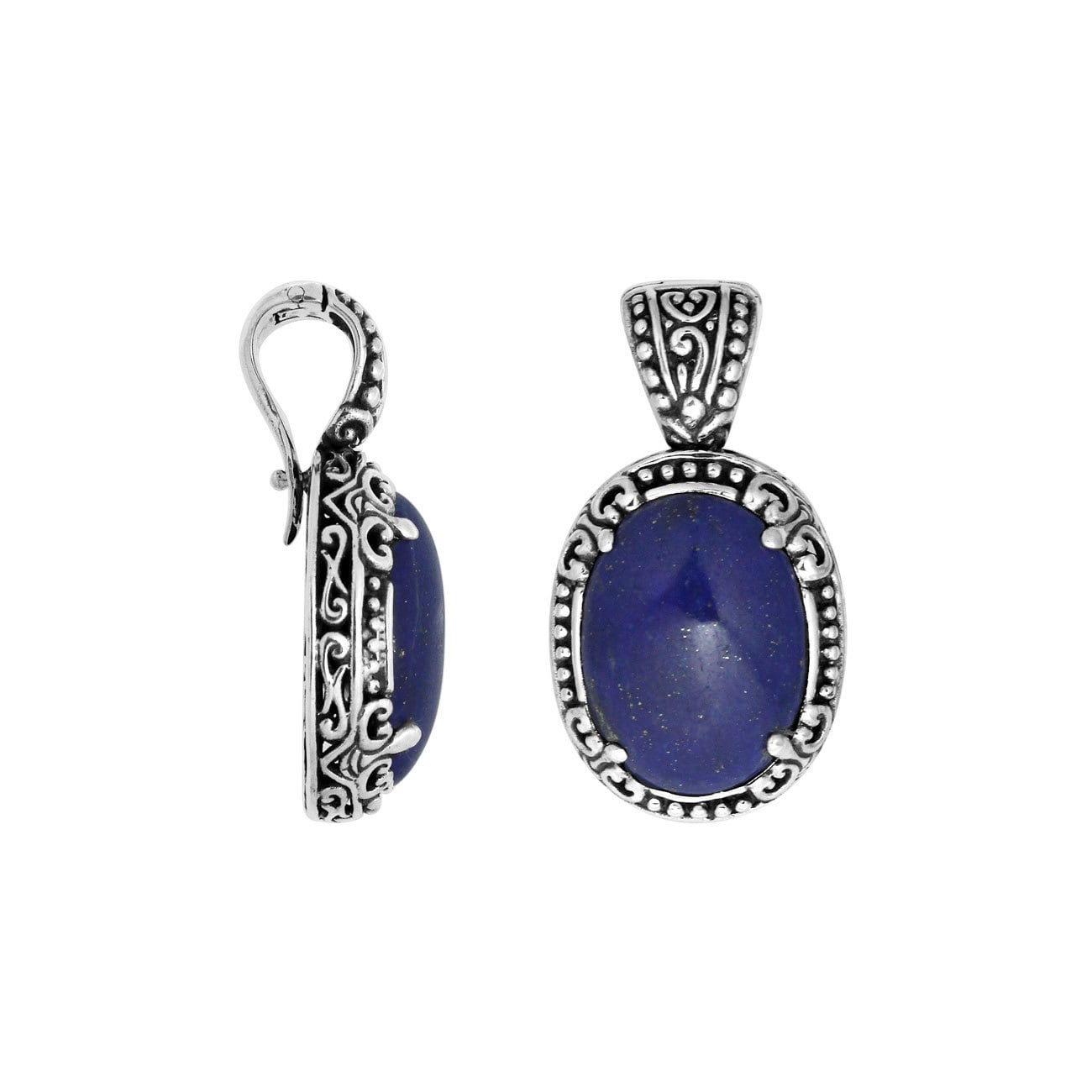 Handmade Sterling Silver Oval Lapis Lazuli Clip-on Enhanc...