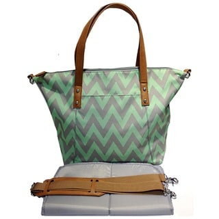 Colorland Green Leather Tote Bag