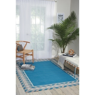 Waverly Sun N' Shade Bubbly Blue Bell Indoor/ Outdoor Rug by Nourison (5'3 x 7'5)