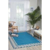 Waverly Sun N' Shade Bubbly Blue Bell Indoor/ Outdoor Rug by Nourison - 5'3 x 7'5