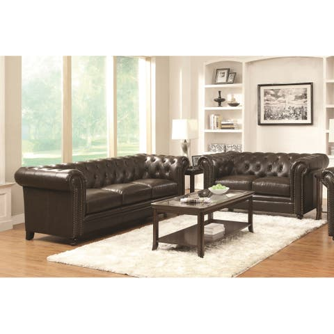 Coaster Company Brown Bonded Leather Loveseat/Sofa - N/A