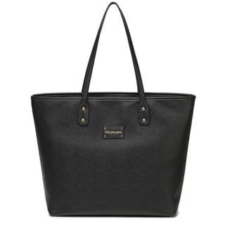 Colorland Black Leather Tote Diaper Bag