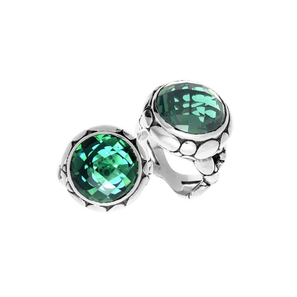 Handcrafted Sterling Silver Round Blue Topaz Bali Ring (Indonesia) - Green