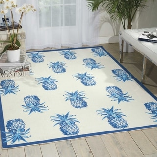 Waverly Sun N' Shade Pineapple Grove Ivory Indoor/ Outdoor Area Rug by Nourison (5'3 x 7'5)