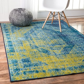nuLOOM Traditional Vintage Inspired Overdyed Blue Rug (5' x 8')
