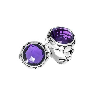 Handcrafted Sterling Silver Round Amethyst Bali Ring (Indonesia)