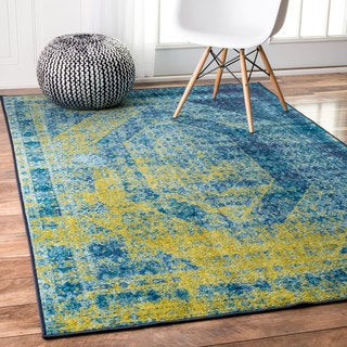 nuLOOM Traditional Vintage Inspired Overdyed Blue Rug (8' x 10')