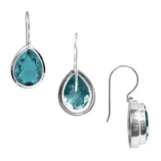Handmade Sterling Silver Pear-Cut Blue Topaz Gemstone Dangle Earrings (Indonesia)