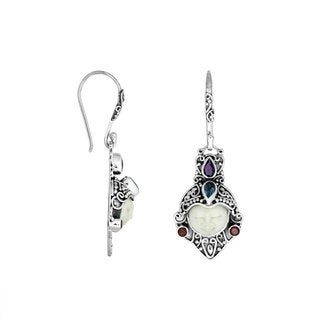 Handmade Sterling Silver Carved Bone Face Gemstone Dangle Earrings (Indonesia)