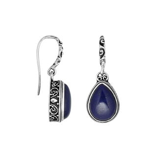 Handmade Sterling Silver Pear Drop Lapis Dangle Earrings (Indonesia)