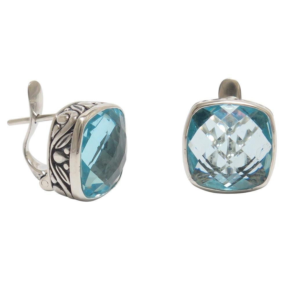 Handmade Sterling Silver Blue Topaz Omega Clasp Earrings ...