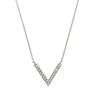 Eternally Haute Solid Sterling Silver Pave Chevron V Fashion Necklace
