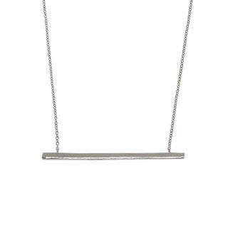 Eternally Haute Silver Brass Side Bar Necklace