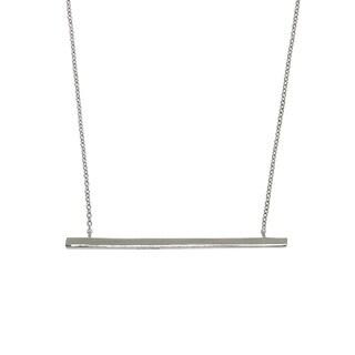 Eternally Haute Silver Brass Side Bar Necklace