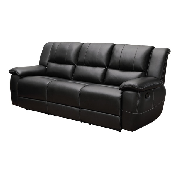 Coaster Company Black Bonded Leather Recliner Gllider Sofa