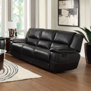 Black Bonded Leather Recliner Gllider Sofa