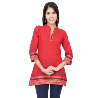 In-Sattva Ethnicity Women's Indian Pink Kurta Tunic with Exquisite Printed Detailing